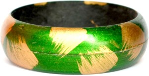 Aarti Collections Green Print Magic Lac Bangle