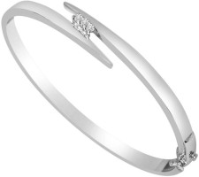 Surat Diamond Sparkling Moon Sterling Silver Diamond Rhodium Plated Bracelet