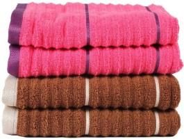 Casa Copenhagen Ribbed Zero Twist Toffee & Honey Suckle Hand Towel Set 4 Hand Towel, Brown, Pink