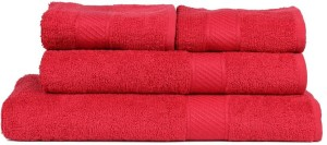 Trident Solid Cotton Bath & Hand Towel Set 1 Bath Towel, 1 Lady Bath Towel, 2 Hand Towel, Red