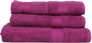 Trident Solid Cotton Bath & Hand Towel Set 1 Bath Towel, 1 Lady Bath Towel, 2 Hand Towel, Purple