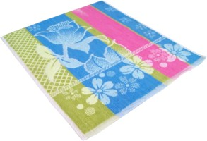 Amber Flower With Coloured Stripe Cotton Multi-purpose Towel Single, Multicolor
