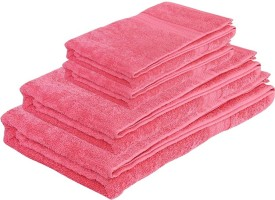 Pipal Regency Cotton Bath & Hand Towel Set 1 Ladies Bath Towel, 1 Gents Bath Towel, 2 Hand towel, Pink