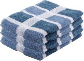 Vrinda Velour Cotton Hand Towel Set 3 Hand Towels, Blue, White