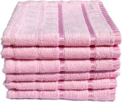 Mandhania Velour Touch Cotton Face Towel Set 6 Face Towels, Pink