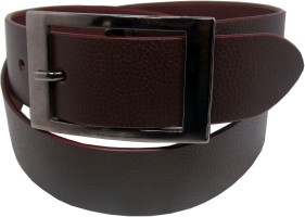 Ekora Men Formal Red Genuine Leather Belt Red