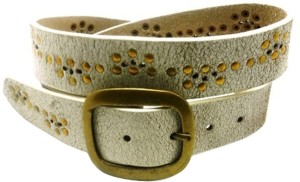 LaPalma Girls Casual White Genuine Leather Belt Whte