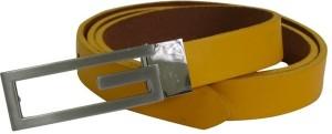 Midas Women Formal Yellow Genuine Leather Belt Yellow