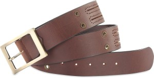 Hide & Sleek Men Casual Brown Genuine Leather Belt Brown-458