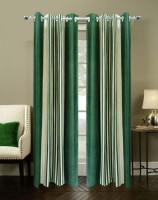 Homefab India Stripes Green Door Curtain Pack of 2