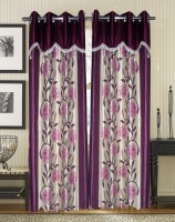 Homefab India Floral Wine Door Curtain Pack of 2