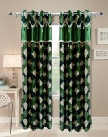 Homefab India Designer Checks Green Window Curtain
