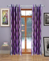 Homefab India Wavy Leaf Purple Door Curtain Pack of 2
