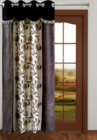 Homefab India Designer Floral Brown Long Door Curtain
