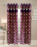 Homefab India Designer Leaf Wine Door Curtain