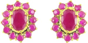 Jpearls Aster Yellow Gold Plated Cubic Zirconia Alloy Stud Earring