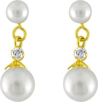 Jpearls White Beauty Yellow Gold Plated Cubic Zirconia, Pearl Alloy Drop Earring