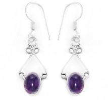 Silver Prince Designer Amethyst Alloy Dangle Earring
