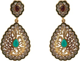 Aaina Trendy Yellow Gold Plated Cubic Zirconia Copper Drop Earring