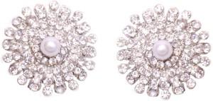Pink Rose Floral Charm Zircon Metal Stud Earring