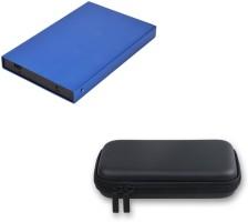 Storite Combo of 2.0 Flowerprint E-Blue & Eva PU Case-Black for 2.5 inch Hard Drive Enclosure