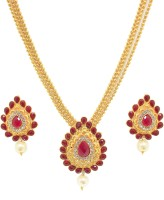 Zaveri Pearls Exotic Haram Necklace Zinc Jewel Set Red
