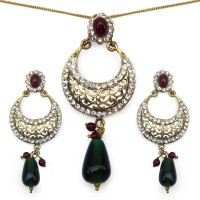Johareez Floral Brass Jewel Set Maroon