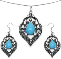 Aksh Fashion Jewellery Alloy Jewel Set Blue