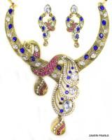 Zaveri Pearls Peacock Pattern Designer necklace Zinc Jewel Set Blue, Pink