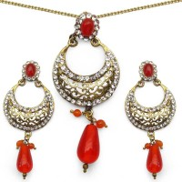 Johareez Floral Brass Jewel Set Orange