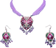 Little India Royal Ethnic Design Lac, Silver Jewel Set Pink