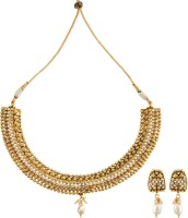 Fabroop Gold Toned Crystal Studded Necklace Alloy Jewel Set White