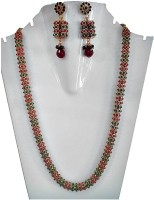 Silver Lines Sparkle Copper Jewel Set Red, Green