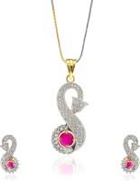 Alysa Henrietta Brass, Alloy Jewel Set Red, Silver
