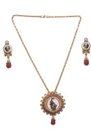 Pink Rose Elegant Mayur Copper Jewel Set Maroon, Green