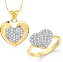 VK Jewels Delight Heart Combo Alloy Jewel Set Gold
