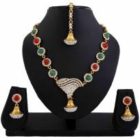 DivaStyleMe Apsara Delight Alloy Jewel Set Red, Green, Gold