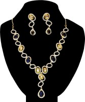Women Trendz Gold Polish Brass Jewel Set Blue