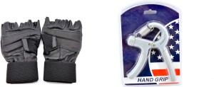 Sports 101 Gloves & Adjustable Hand Grip Gym & Fitness Kit