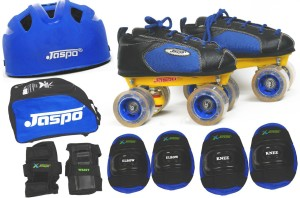 JASPO Swift Pro Shoe Skates Combo(shoe skates+ helmet+knee+elbow+wrist+bag)Foot length 25.7 cms (For age group 13-14 years) Skating Kit