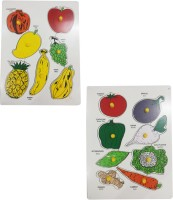 Indiangiftbazzar IGB Combo of Fruit and Vegetable Pc Lift Out Puzzle Multicolor