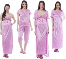 Se Deplace Women's Night Dress Long Robe II Nighty II Capri II Top