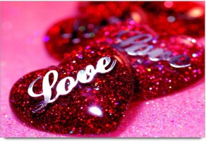 Amy Love Text and Dotted Red Hearts with Pink Colour Background 3D Poster