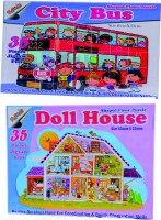 Ratnas Pack Of 2-City Bus & Doll House 70 Pieces