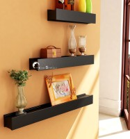 Home Sparkle Rail Joint Shaped 3 - Shelf Rack Wooden