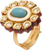 Voylla Artifictial Kundan Enamel Alloy Crystal 18K Yellow Gold Plated Ring