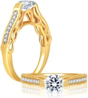 Sukkhi Cubic Zirconia Stone Studded Solitaire Alloy Cubic Zirconia Rhodium, 18K Yellow Gold Plated Ring