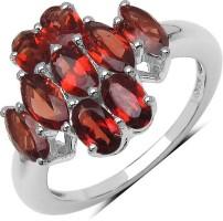 Johareez Silver Garnet Silver Plated Ring