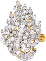 Voylla Artifictial Classic Textured Alloy Cubic Zirconia Yellow Gold Plated Ring