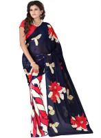 Heena Solid, Floral Print Bollywood Georgette Sari